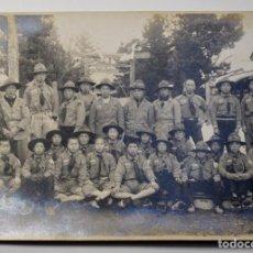 Militaria: FOTO ORIGINAL DE CAMPAMENTO DE SCOUTS JAPONESES.EXTRAORDINARIO ESTADO FIRMADA AL DORSO.. Lote 190511222
