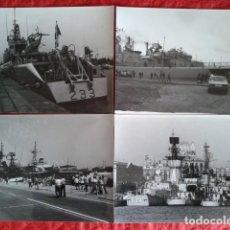 Militaria: CUATRO FOTOGRAFÍAS DE BUQUES DE GUERRA FONDEANDO EN EL PUERTO DE BARCELONA. Lote 190918523