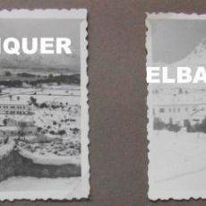 Militaria: 2 FOTOS DEL CUARTEL DE POLLENSA NEVADO. MALLORCA AÑO 1956. 9 X 6 CM. Lote 191354900