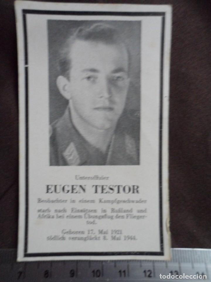 TARJETA OBITUARIA DE OBSERVADOR LUFTWAFFE COMBATIENTE EN RUSIA Y AFRICA (Militar - Fotografía Militar - II Guerra Mundial)