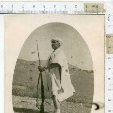 Militaria: UNICA FOTOGRAFÍA SOLDADO MARROQUÍ CON FUSIL, ÁFRICA..... Lote 192746218