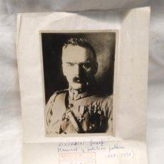 Militaria: JÓZEF PILSUDSKI MARISCAL Y POLITICO POLACO, FOTOGRAFIA MUNTANER Y SIMÓN. Lote 193981785