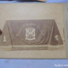 Militaria: * ANTIGUA GRAN FOTOGRAFIA DE BANDERA ESPAÑOLA REG SICILIA 7, SIGLO XIX, FOTO NAPOLEON. ZX. Lote 194237585