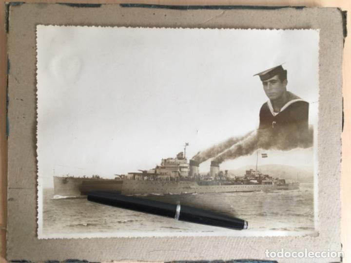 FOTOGRAFIA DEL CRUCERO GALICIA CON LAS AMURAS Y ALETAS CON BANDERA NACIONAL Y FOTO DE MARINERO (Militar - Fotografía Militar - Guerra Civil Española)
