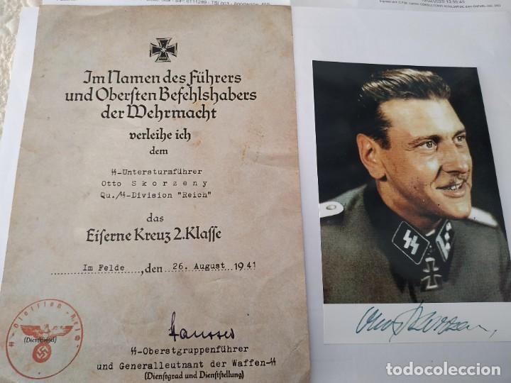 OTTO SKORZENY FIRMADA + DECRETO EK2 DEL MISMO ( COPIA ) (Militar - Fotografía Militar - II Guerra Mundial)