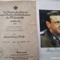 Militaria: OTTO SKORZENY FIRMADA + DECRETO EK2 DEL MISMO ( COPIA ). Lote 194340307