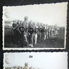 Militaria: (JX-200271)DOS FOTOGRAFÍAS SOLDADOS EN FORMACIÓN UNIFORME DE COMBATE , GUERRA CIVIL , MANACOR .. Lote 194606438