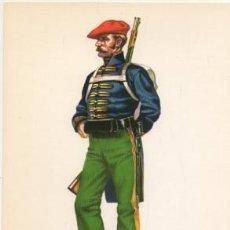 Militaria: LAMINA DE UNIFORMES MILITARES. ESCOLTA DEL PADRASTRO DE CABRER 1847 LAMUNI-009. Lote 194686038