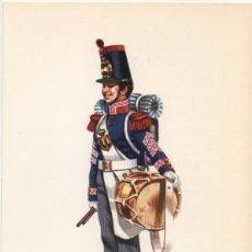 Militaria: LAMINA DE UNIFORMES MILITARES. TAMBOR DE INFANTERIA DE LINEA 1851-58 LAMUNI-010. Lote 194686135