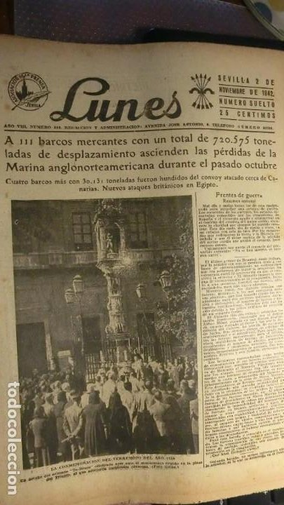 HOJA DEL LUNES 2 DE NOVIEMBRE DE 1942 GUERRA MUNDIAL. (Militar - Fotografía Militar - II Guerra Mundial)