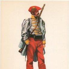 Militaria: LAMINA DE UNIFORMES MILITARES. GUIAS DE NAVARRA. ESPAÑA 1834 LAMUNI-031. Lote 194763423