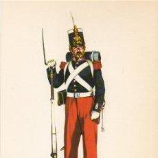 Militaria: LAMINA DE UNIFORMES MILITARES. GRANADERO GUARDIA REAL. ESPAÑA 1834 LAMUNI-032. Lote 194764307