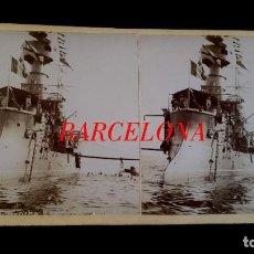 Militaria: ACORAZADO Y CRUCERO FRANCÉS - ESTEREOSCOPICA - 1899 - PUERTO DE BARCELONA - 2 FOTOGRAFIAS. Lote 194986788