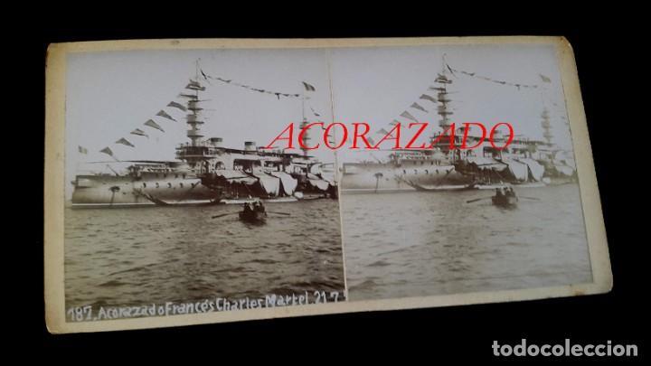 ACORAZADO FRANCÉS - ESTEREOSCOPICA - 1899 - PUERTO DE BARCELONA - 2 FOTOGRAFIAS ( ANVERSO Y REVERSO (Militar - Fotografía Militar - Otros)