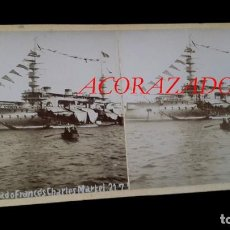 Militaria: ACORAZADO FRANCÉS - ESTEREOSCOPICA - 1899 - PUERTO DE BARCELONA - 2 FOTOGRAFIAS ( ANVERSO Y REVERSO . Lote 195007698