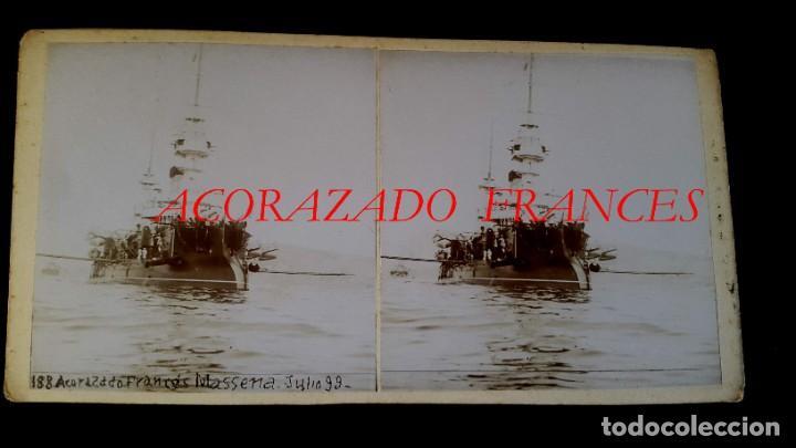 Militaria: ACORAZADO FRANCÉS - ESTEREOSCOPICA - 1899 - PUERTO DE BARCELONA - 2 FOTOGRAFIAS ( Anverso y reverso - Foto 2 - 195007698