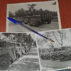 Militaria: BILLETEFOTOGRAFIAS DE FLOTILLA CAMIONES CAT, USADOS PARA EL TRANSPORTE DE CARTILLAS DE RACIONAMIENTO. Lote 195019736
