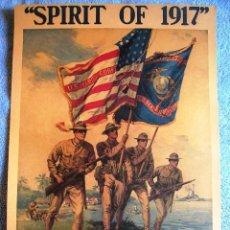 Militaria: CARTEL POSTER RETRO - EL ESPIRITU DE 1917 ( I GUERRA MUNDIAL ) UNETE A LOS MARINES U.S. EN BOSTON. Lote 195128607