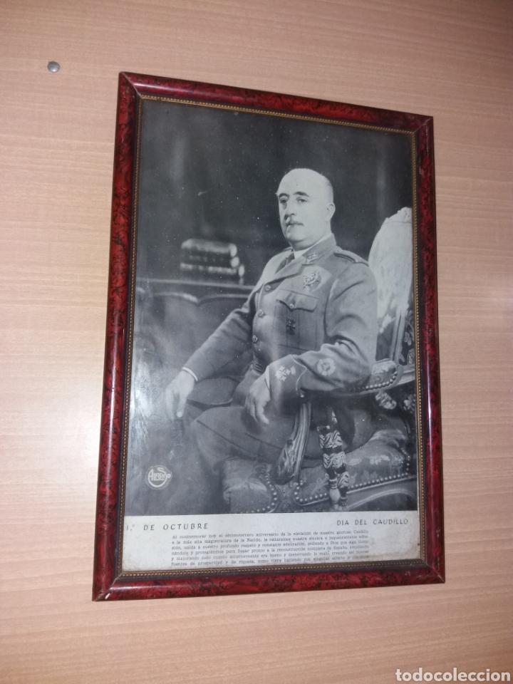 ANTIGUO CUADRO FRANCISCO FRANCO 1 DE OCTUBRE DIA DEL CAUDILLO (Militar - Fotografía Militar - Guerra Civil Española)
