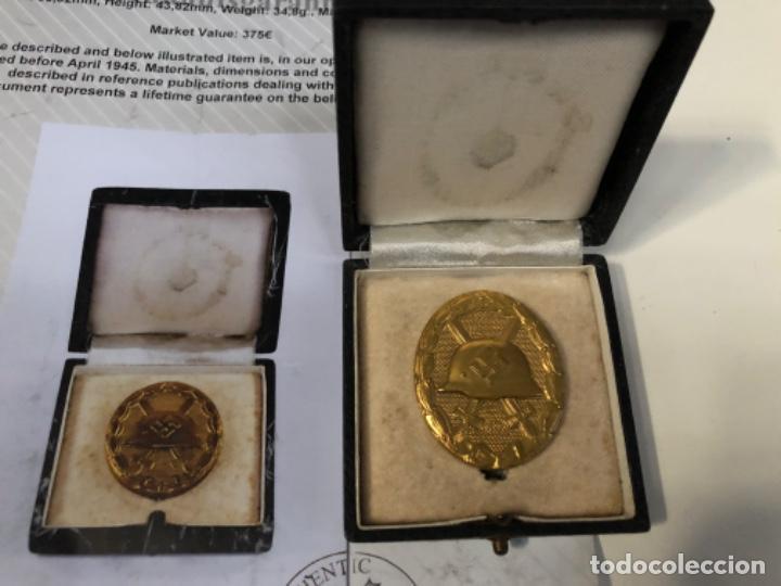 Militaria: Medalla herida categoría oro certificado alemán autenticidad - Foto 2 - 195253437