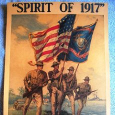 Militaria: CARTEL POSTER RETRO - EL ESPIRITU DE 1917 ( I GUERRA MUNDIAL ) UNETE A LOS MARINES U.S. EN BOSTON. Lote 195392968