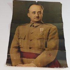 Militaria: ANTIGUA LAMINA FOTOGRAFICA CARTEL - FOTOGRAFIA RETRATO OFICIAL DE FRANCISCO FRANCO AÑOS 40. Lote 195528980