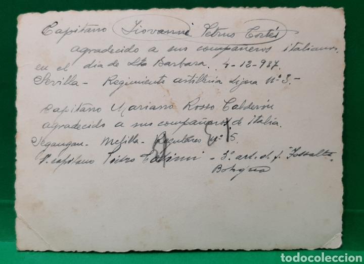 Militaria: REG. ARTILLERÍA 3. SEVILLA. 4-12-1937. STA. BÁRBARA. CAPITANES ITALIANOS, NOMBRES AL DORSO. - Foto 2 - 195704696