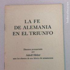 Militaria: DISCURSO PRONUNCIADO POR HITLER 1940. Lote 196629687