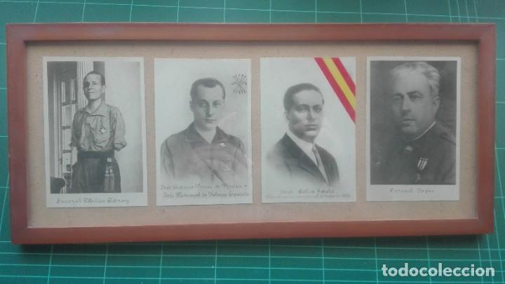 CUADRO CON RETRATOS. MILLAN ASTRAY, PRIMO DE RIVERA, CALVO SOTELO, YAGÜE (Militar - Fotografía Militar - Guerra Civil Española)
