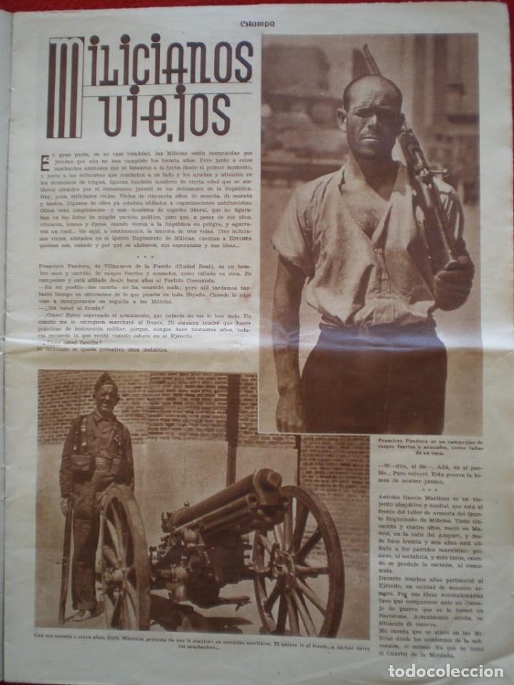 Militaria: REVISTA REPUBLICANA ESTAMPA GUERRA CIVIL 29/08/1936 MILICIANOS EN EL FRENTE MUCHAS FOTOS LAGARTERA - Foto 5 - 197679306