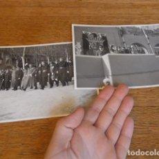 Militaria: ANTIGUAS 2 FOTOGRAFIA DE FRANCO CON JERARCAS DE FALANGE, GUARDIA MORA... ORIGINAL. BARCELONA.. Lote 198857541