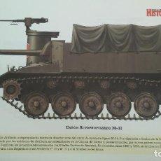 Militaria: LAMINA FICHA MILITAR CAÑON AUTOPROPULSADO M-37. Lote 199684957