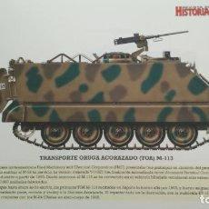Militaria: LAMINA FICHA MILITAR TRANSPORTE ORUGA ACORAZADO TOA M-113. Lote 199685212