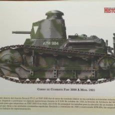 Militaria: LAMINA FICHA MILITAR CARRO DE COMBATE FIAT 3000 1921. Lote 199685531