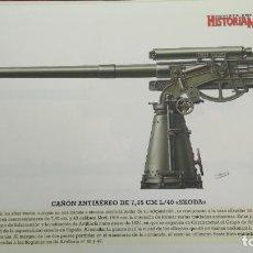 Militaria: LAMINA FICHA MILITAR CAÑON ANTIAEREO DE 7,65 SKODA. Lote 199685768