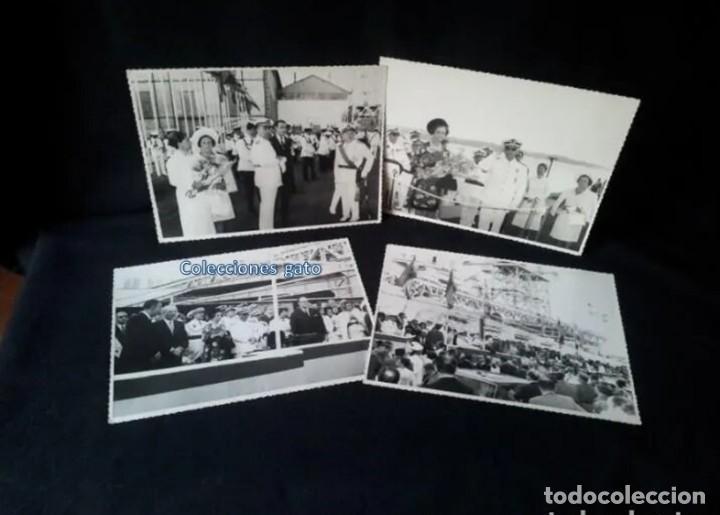 4 FOTOGRAFIAS OFICIALES DEL GENERAL FRANCISCO FRANCO - LANZAMIENTO DEL BUQUE BALEARES (Militar - Fotografía Militar - Otros)