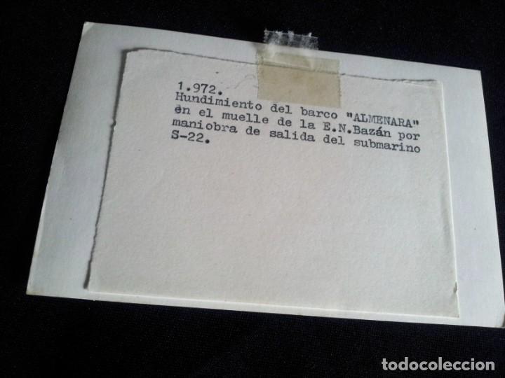 Militaria: FOTOGRAFIA DEL HUNDIMIENTO DEL BARCO ALMENARA - AÑO 1972 - Foto 2 - 200577785
