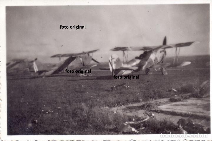 AVIONES HEINKEL 45 AERODROMO ARAGONES (CARIÑENA?') NOVIEMBRE 1937 GUERRA CIVIL (Militar - Fotografía Militar - Guerra Civil Española)