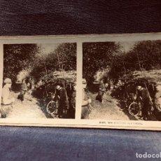 Militaria: FOTO I G.M MILITAR LES PLANTONS CYCLISTES 2623 ESTEREOSCÓPICA 17X9. Lote 202443605