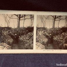 Militaria: FOTOGRAFÍA MILITARES ESTEREOSCÓPICA SOLDADOS EN LAS TRINCHERAS I GUERRA MUNDIAL FRENTES 17 X 9 CM. Lote 202470453