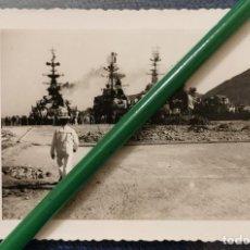 Militaria: ANTIGUA FOTOGRAFIA, BARCOS DE GUERRA EN LA DARSENA DE CARTAGENA, 120X85MM. Lote 204268016