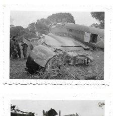 Militaria: 1936-38CA (2) FOTOGRAFÍAS JUNKERS JU 52 DERRIBADO. GUERRA CIVIL. SACADA POR SOLDADO LEGIÓN CÓNDOR. Lote 204827882