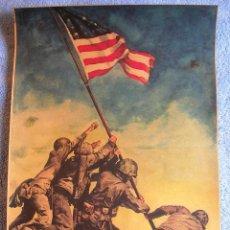 Militaria: CARTEL POSTER RETRO - ALZANDO LA BANDERA EN IWO JIMA - POR TESORO USA 7º PRESTAMO II GUERRA MUNDIAL. Lote 263000515