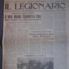 Militaria: RARO PERIÓDICO GUERRA CIVIL - IL LEGIONARIO VOLUNTARIOS ITALIANOS EN LA GUERRA 16/02/1938. Lote 208977020