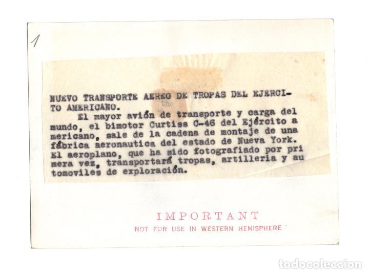 Militaria: AVIACIÓN.- BIMOTOR CURTISS C-46. TRANSPORTE AEREO.14X10,5 - Foto 2 - 210764512