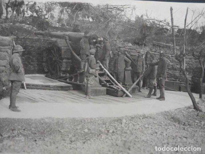 PIEZA DE 149 LONG. EN POSICION CARGANDO. FRENTE ITALIANO. 12,5 X 17 CMS. EJERCITO FRANCES. AÑO 1917 (Militar - Fotografía Militar - I Guerra Mundial)