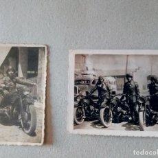 Militaria: T-217.- 2 FOTOGRAFIAS , PEQUEÑO TAMAÑO, EJERCITO DE TIERRA , EN MOTOCICLETAS .- E.T.-. Lote 214031780