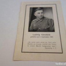 Militaria: ESQUELA ORIGINAL SOLDADOS ALEMANES CAIDOS . ALEMANIA NAZI.. Lote 215747425