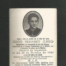 Militaria: RECORDATORIO MILITAR DEFUNCIÓN DIVISION AZUL - CAMISA VIEJA DE FALANGE - VALLADOLID AÑO 1942. Lote 222228310