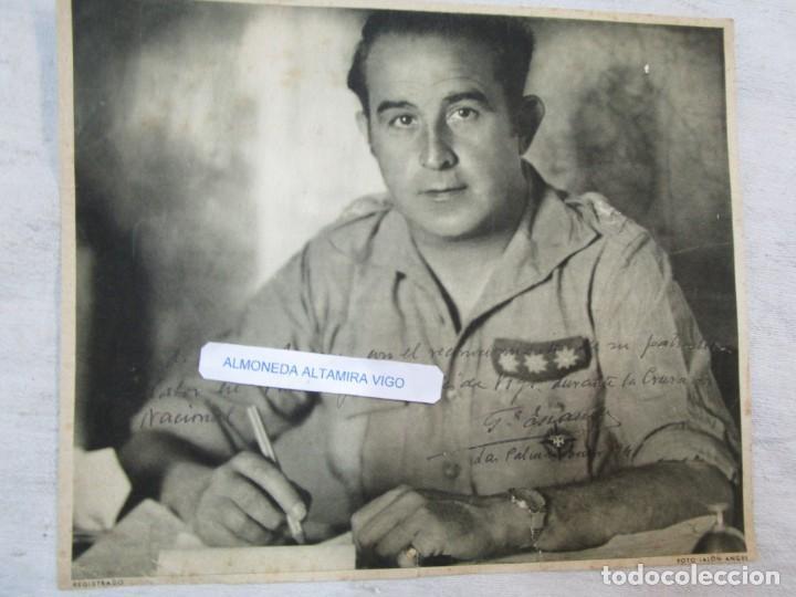 FOTO LAMINA DEDICADA POR CORONEL FRANQUISTA' GARCIA ESCAMEZ ' EN LAS PALMAS 1941, FOTO JALON + (Militar - Fotografía Militar - Guerra Civil Española)